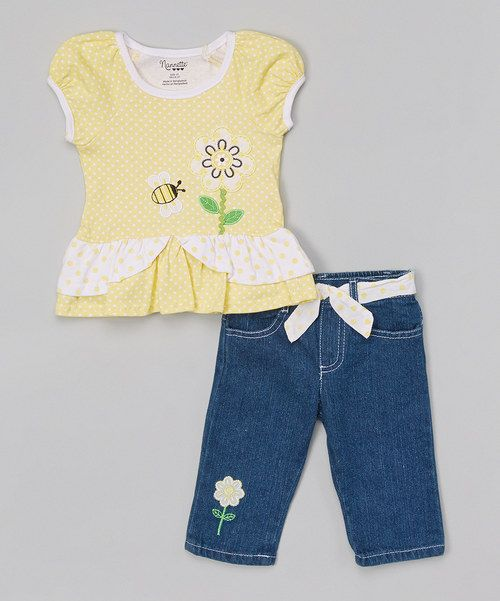 Look at this Yellow Bee Top & Blue Denim Pants - Toddler & Girls on #zulily today!