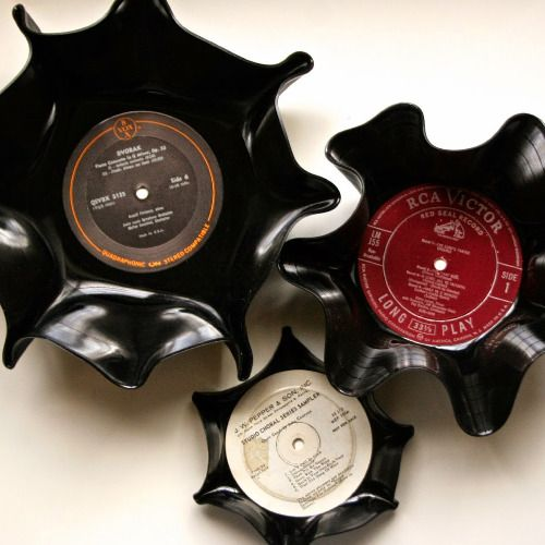 Turn thrifted vinyl records into awesome bowls! All you need is a record and an oven!
