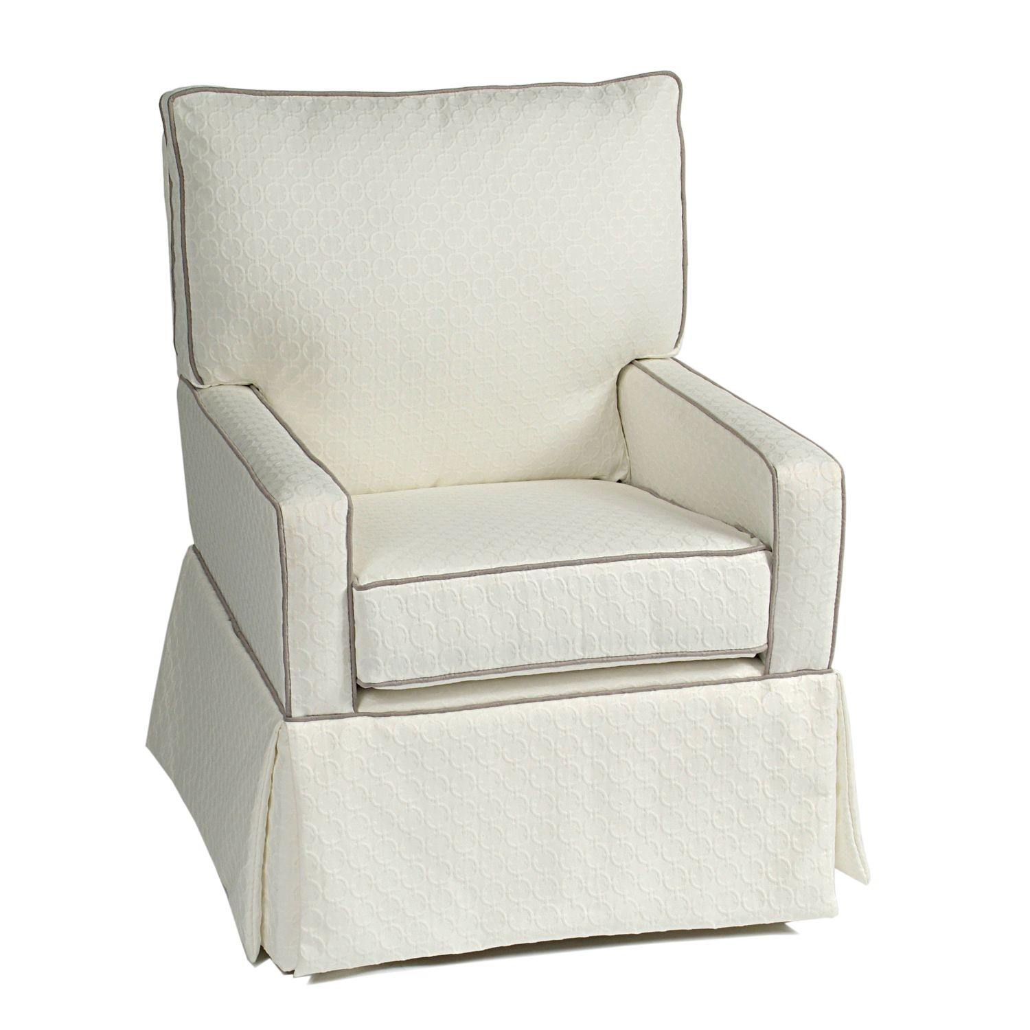 Little Castle Mesa Glider   Links White With Grey Piping   Add Style And  Comfort To Your Nursery With The Little Castle Mesa Glider   Links White  With Grey ...