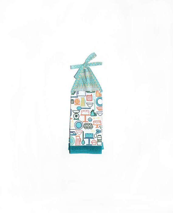 Kitchen Hand Towel, Cooking Decor, Blue Yellow, Chevron Pattern, Hanging  Hand Towel