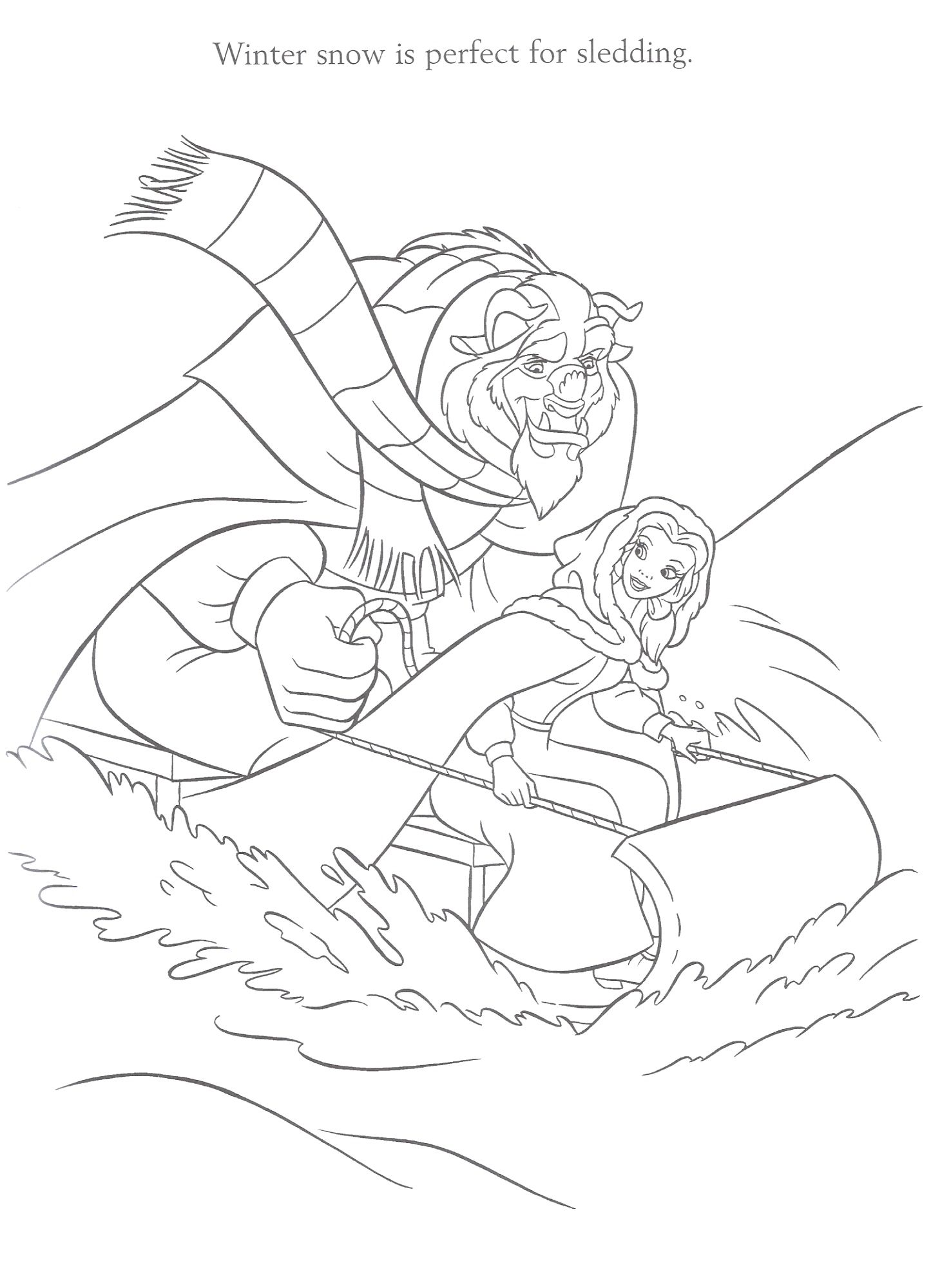 Image from http://disney-stationary.com/coloring-book/Beauty-Beast/beauty-beast-snowsled.jpg.