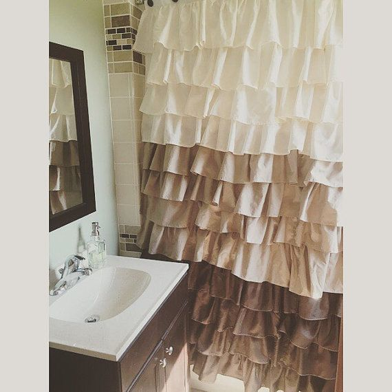 Brown Tan And Beige Ruffled Shower Curtain Can Be Custom Made To Your Color Choice