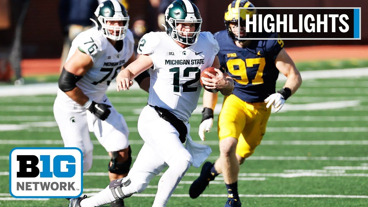 Extended Highlights Lombardi Leads Spartans To The Upset Msu At Michi In 2020 University Of Michigan Wolverines Football Helmets Michigan