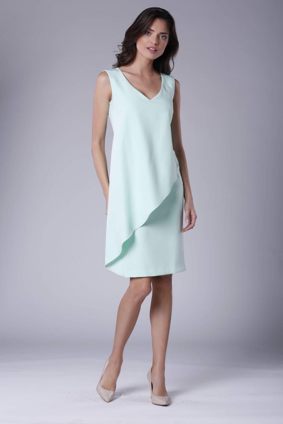 4d4355a543 Oryginalna Sukienka z Asymetryczną Falbaną Miętowa NA911 w 2019 ...
