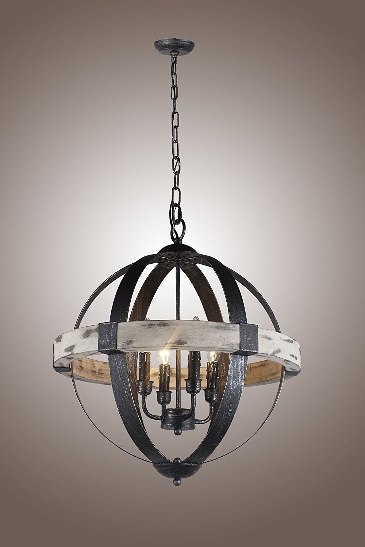 Castello Black Aspen Wrought Iron Globe Wood 4 Light Dia