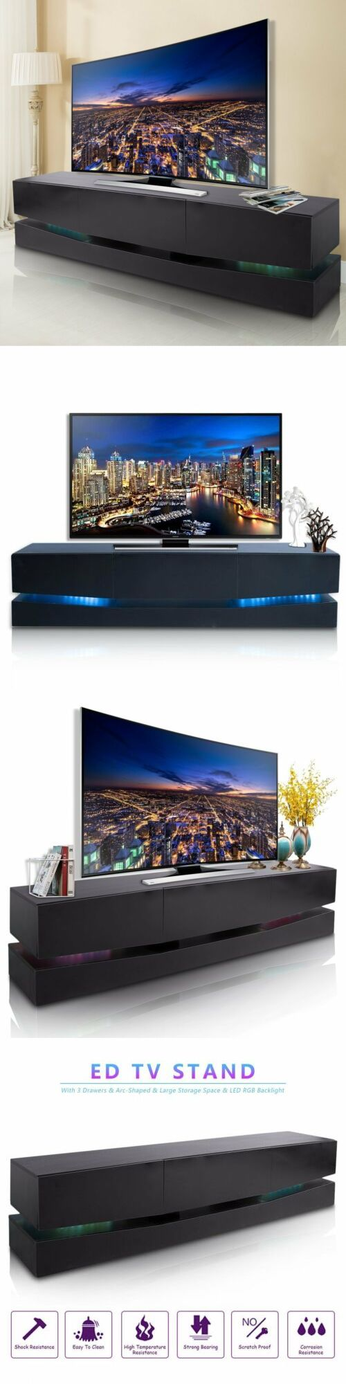 Entertainment Units Tv Stands 20488 70 Inch Tv Stand Led Lights