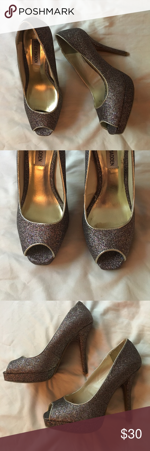 Peep toe sparkle pumps! Gorgeous Steve Madden peep toe heels. Inner lining and border is gold, and the rest is really pretty dark sparkles. Worn, but in good condition. No wear on heels. The inner lining has some marks (all pictured) Steve Madden Shoes Heels