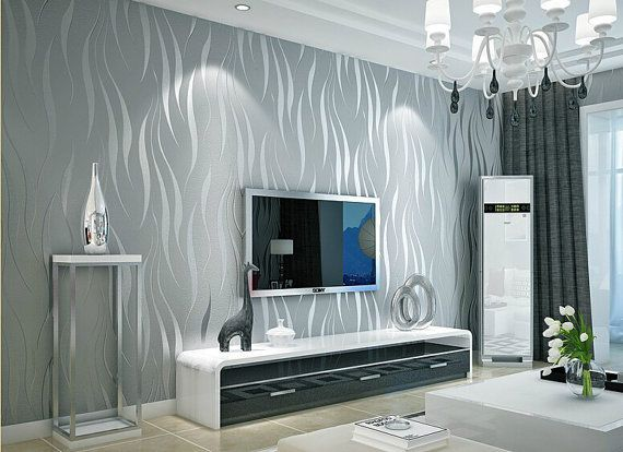 Silver Grey Modern Wave Wallpaper Etsy In 2020 Wallpaper Living Room Silver Wallpaper Living Decor