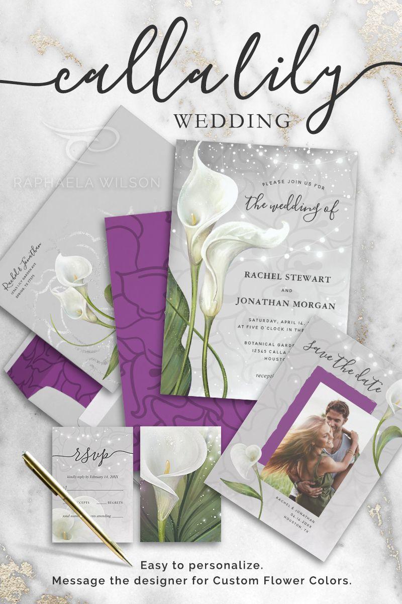 Elegant Floral White Purple Calla Lily Wedding Invitation Zazzle