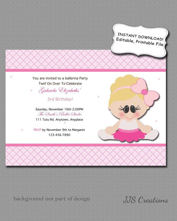 INSTANT DOWNLOAD Editable Blonde Ballerina Birthday Party by JJsquaredCreations http://etsy.me/18oAwgl via @Etsy #invitation #printable