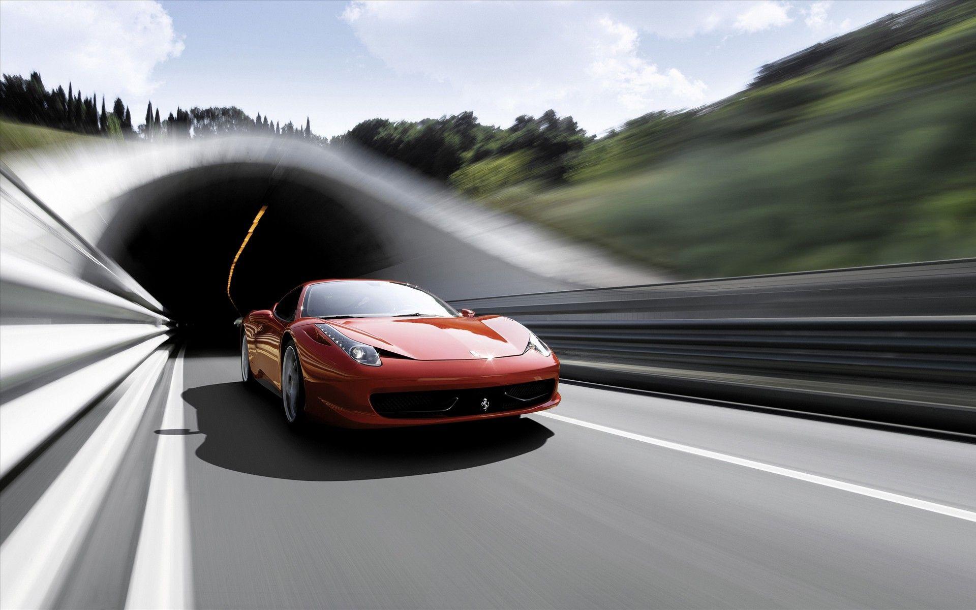 Ferrari 458 Italia On Highway HD Widescreen Wallpapers Sportcar