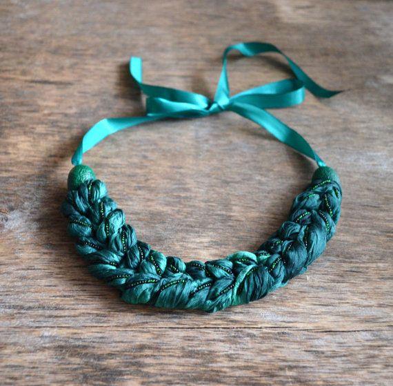 necklace textile braid necklace made of natural silk batik. braid, scythe, plait, tress, OOAK . necklace braid , dark emerald green