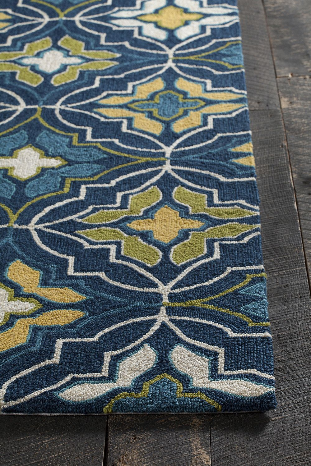Terra Collection Hand Tufted Area Rug In Blue Green Yellow