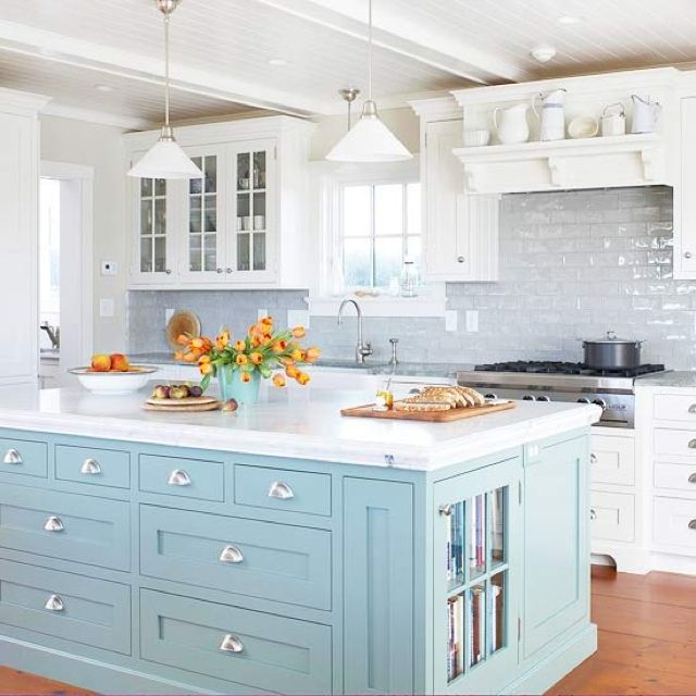 Kitchen Island Accent Color: A Panelled Ceiling?? {What Do You Think Of Them?! I Need