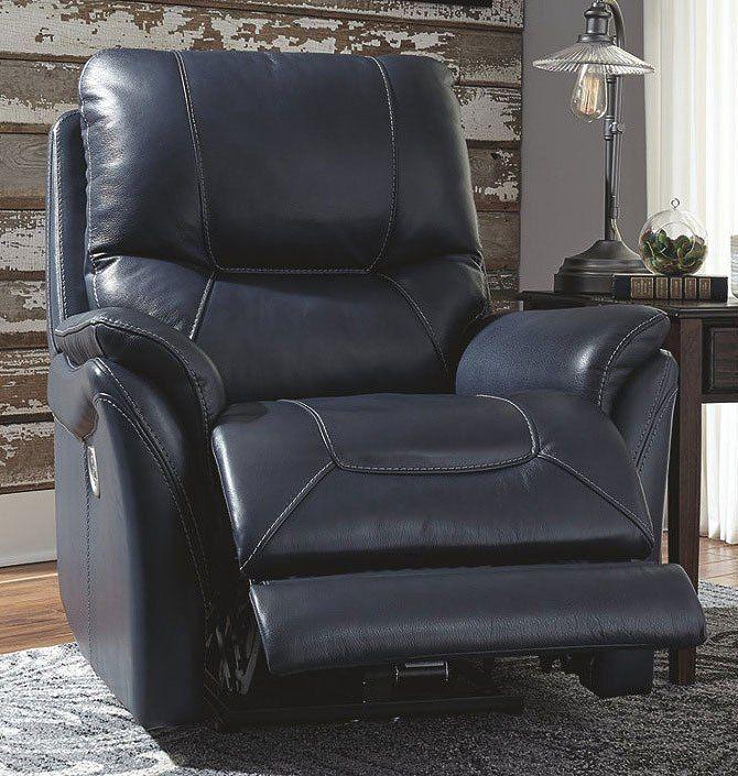 Best Stolpen Blue Power Recliner W Adjustable Headrest With 400 x 300