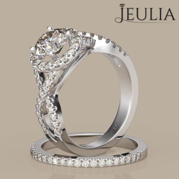 360 View of Twist Halo Round Cut White Sapphire Ring