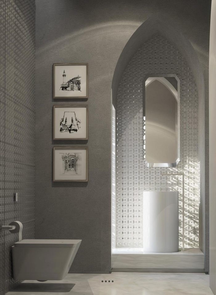 moderner Luxus im Badezimmer-marokkanischer Stil in neutralen Farben