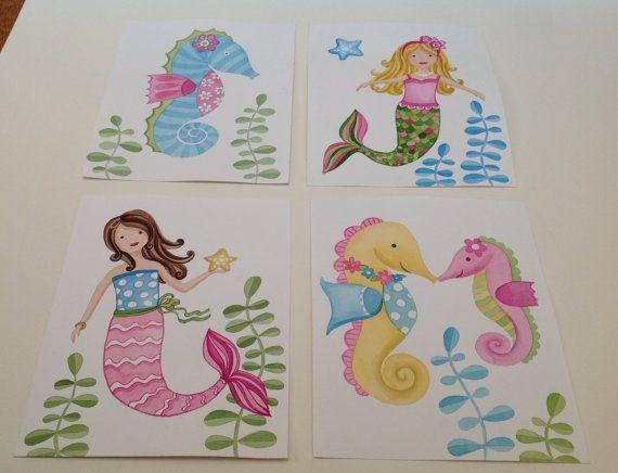 Exceptional Items Similar To Mermaid Kids Art, Mermaid Seahorse Bedding, Mermaid  Bathroom Art, Sea Animals Wall Decor Kids 4 Prints On Etsy