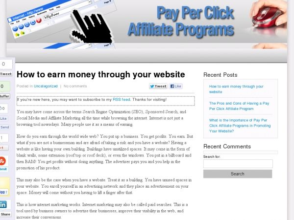 Pay Per Click Affiliate Programs | sat | Earn money, Website