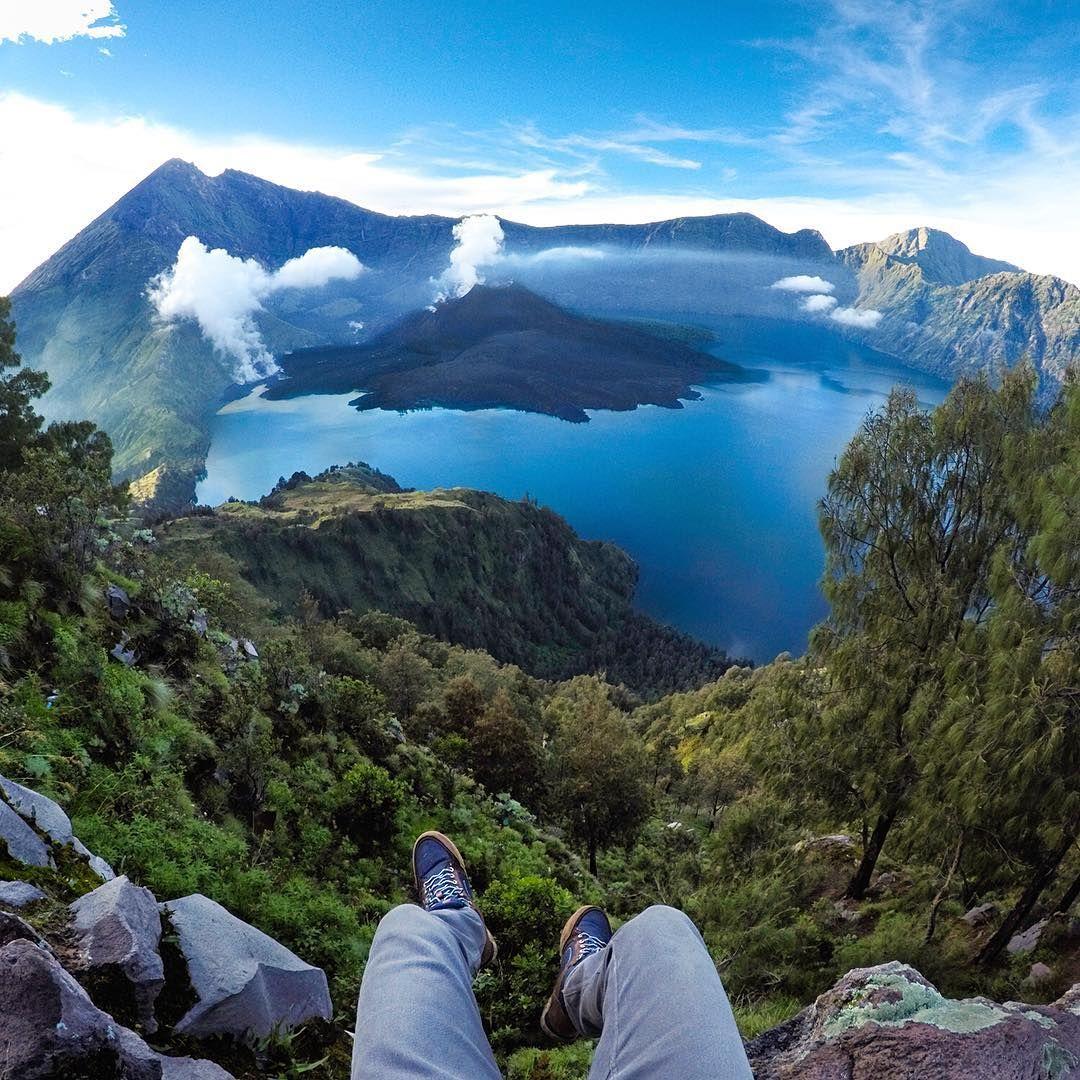 Travis Burke At Mount Rinjani Volcano On The Island Of