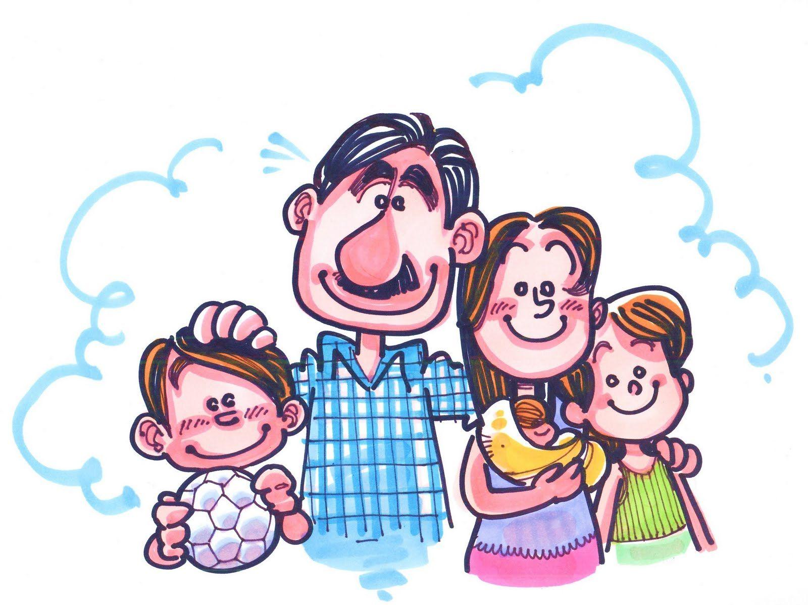 Dibujo De Una Familia Típica. Marido, Mujer E Hijos