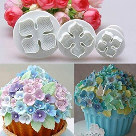 3pcs Hydrangea Flower Fondant Cake Decorating Sugarcraft Plunger Cutter DIY Mold