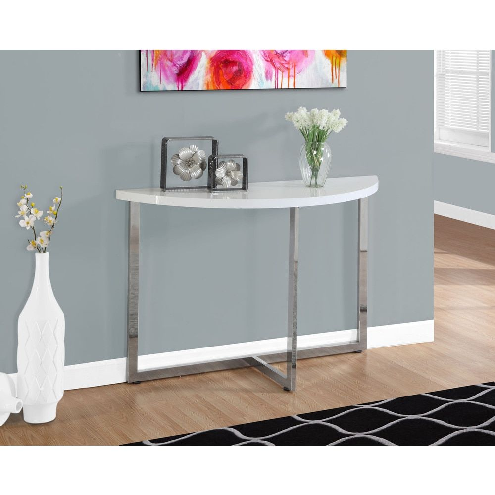 Console Table 48 L Glossy White Chrome Metal Ping The Best Deals On Coffee Sofa End Tables