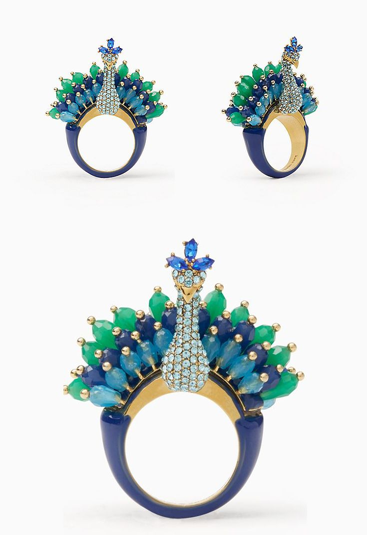 Kate Spade New York full plume peacock ring. Outfit inspiration, jewellery. Peacock Jewellery. Peacock acessories. Wedding outfits. #fashion #rings #pinspiration #affiliate #katespade #jewels #peacock #accessories