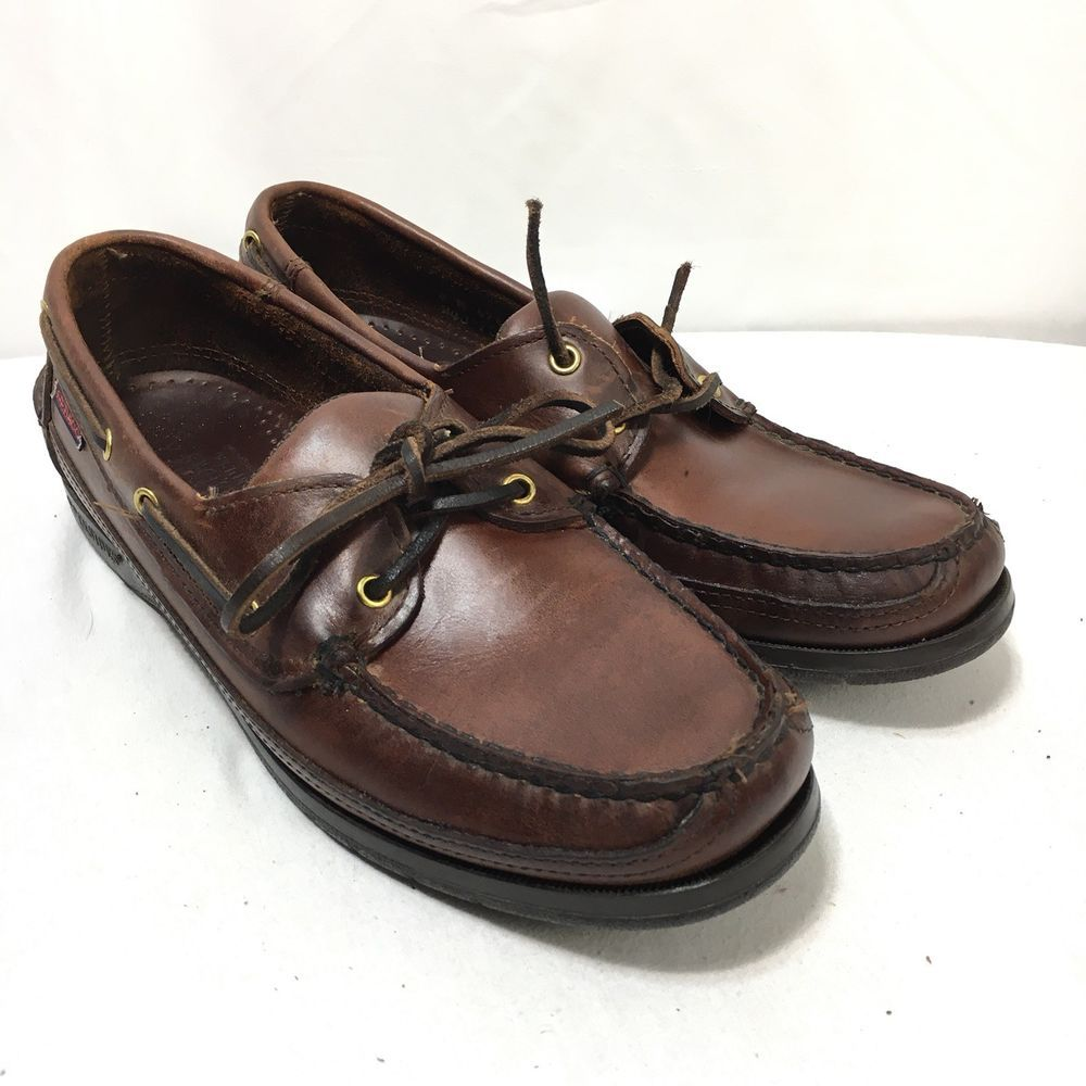 8785d6afb1b69 Sebago Docksides USA Made Men's 8 M Brown Leather Boat Shoes | eBay ...