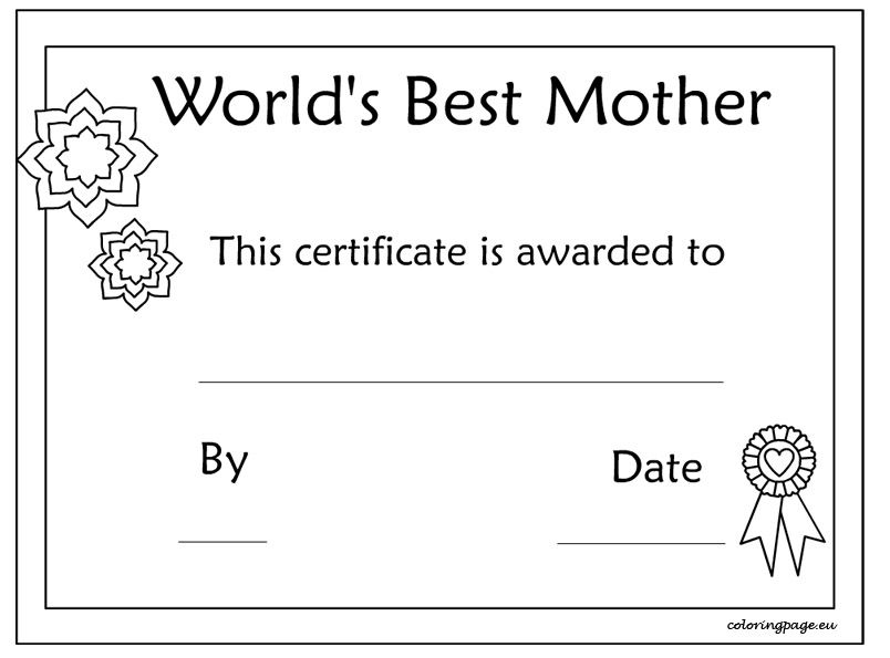 Printable MotherS Day Certificate Template  MotherS Day