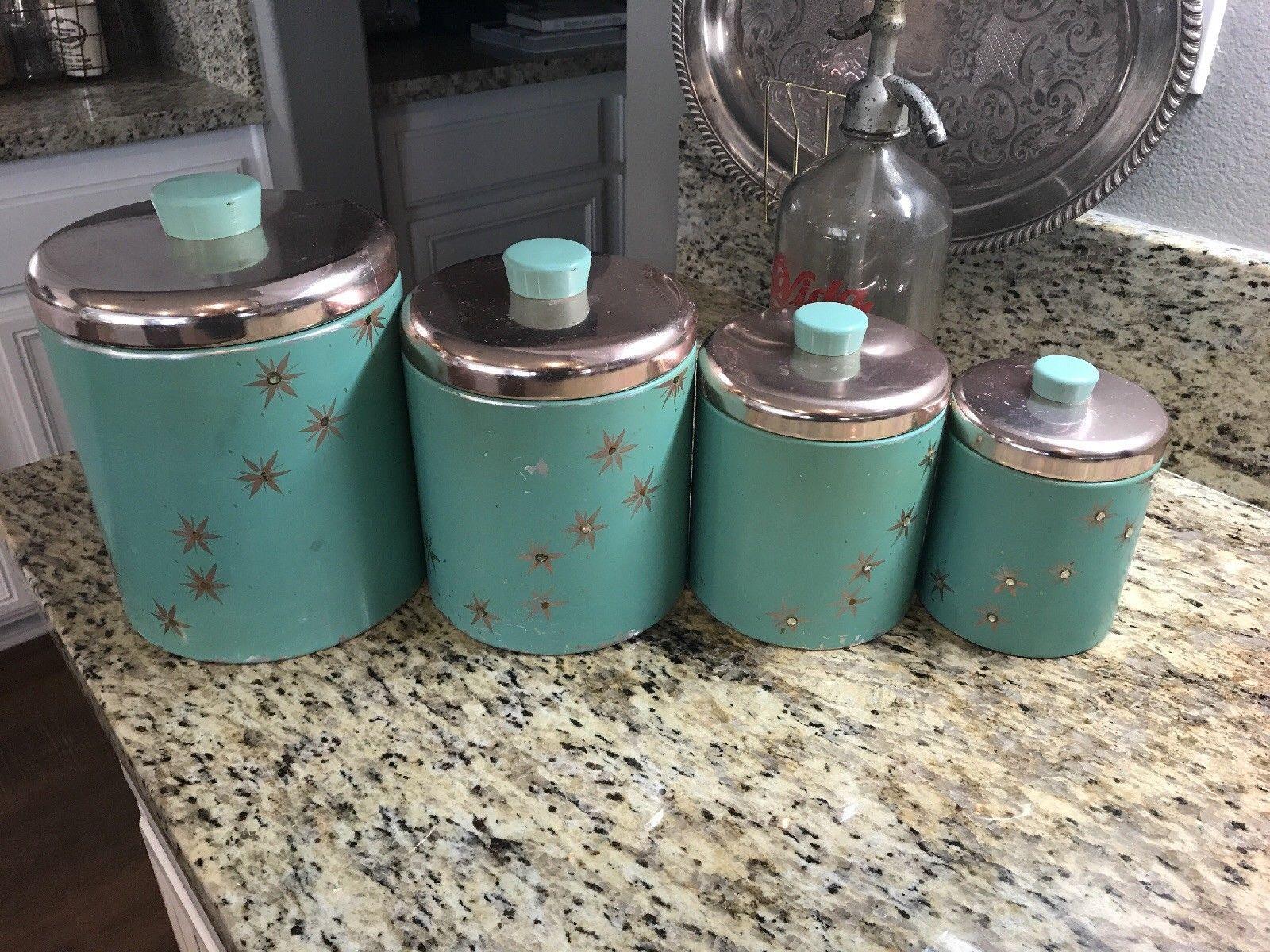 Vintage Teal Blue Ransburg Tin Metal Kitchen Canister Set Usa