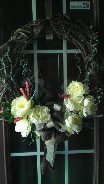Grapevine wreath w/peonies