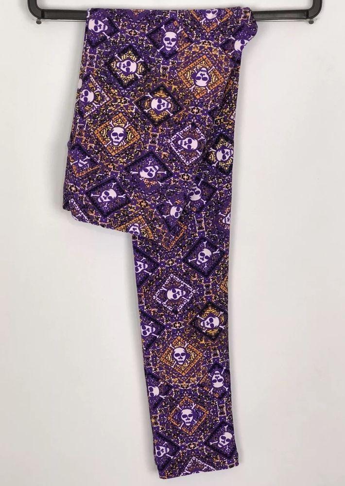 2006fd958b2e61 Lularoe Halloween Leggings OS Skull Cross Bones Purple Orange One Size NWT  NEW | eBay