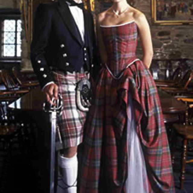 Traditional Scottish Wedding Attire For Groom And Bride Tartan Wedding Dress Scottish Wedding Dresses Tartan Dress