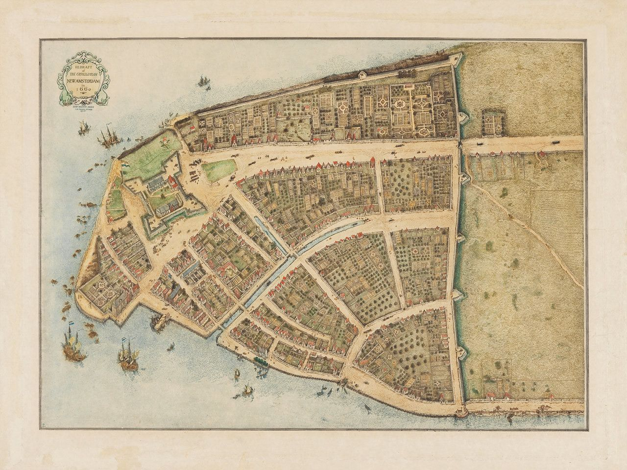 New York Castello Plan New Amsterdam Old Map Antique And - Amsterdam old map