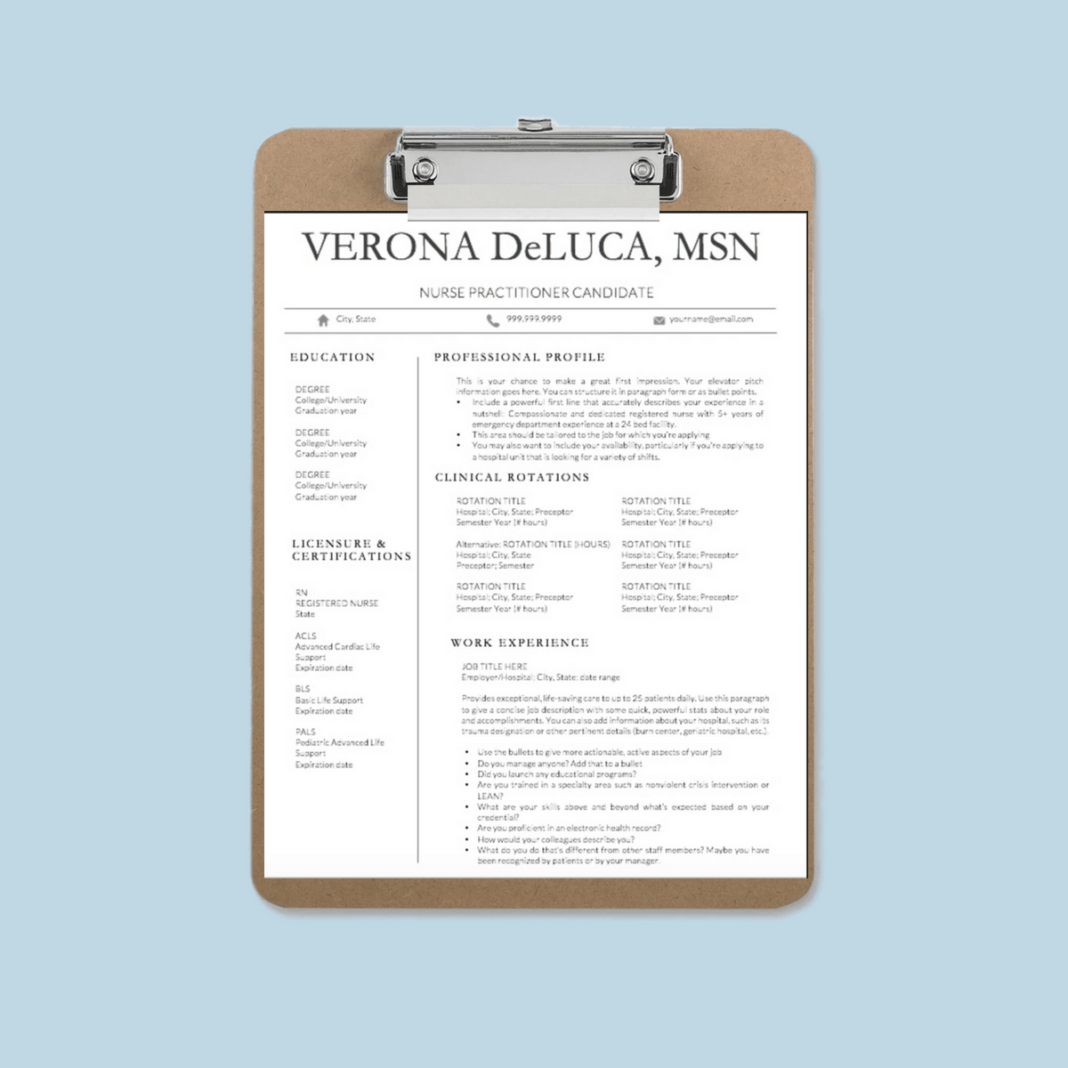 Nurse Resume Template Shop Instant Downloads! Nursing