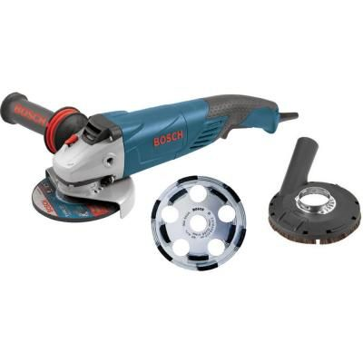 Bosch 9 5 Amp Corded 5 In Surface Concrete Grinder Kit With Concrete Surfacing Attachment Bosch Angle Grinder