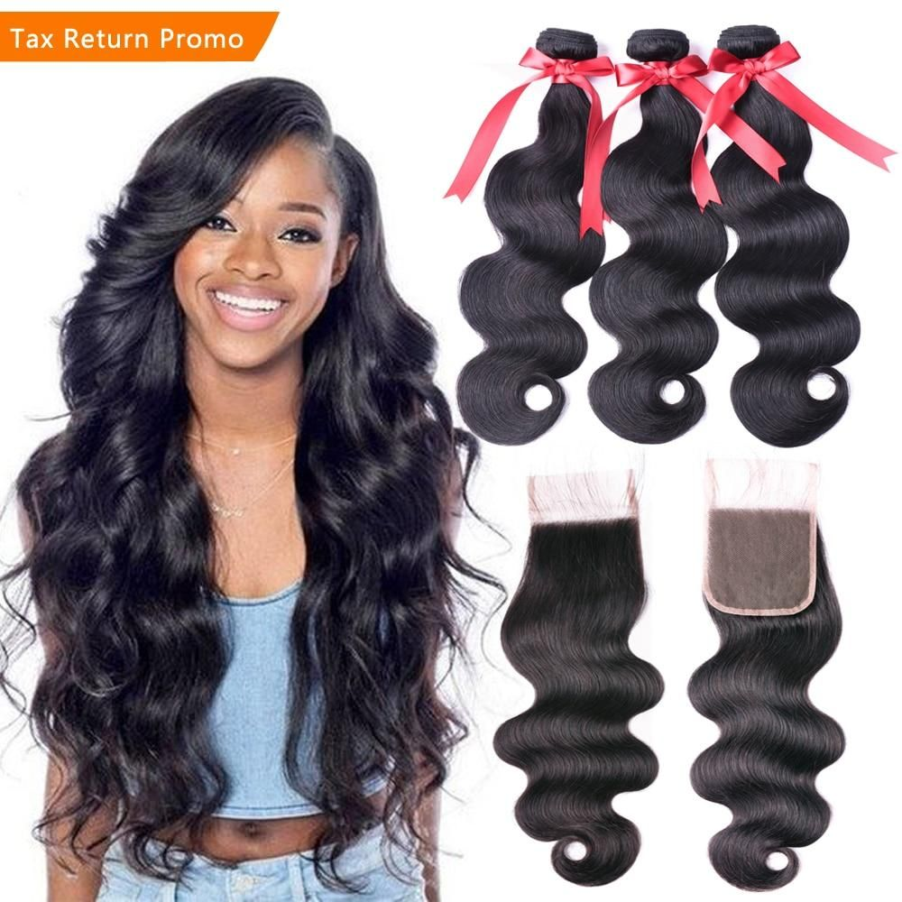 Ms Love Body Wave Human Hair Bundles With Closure Peruvian