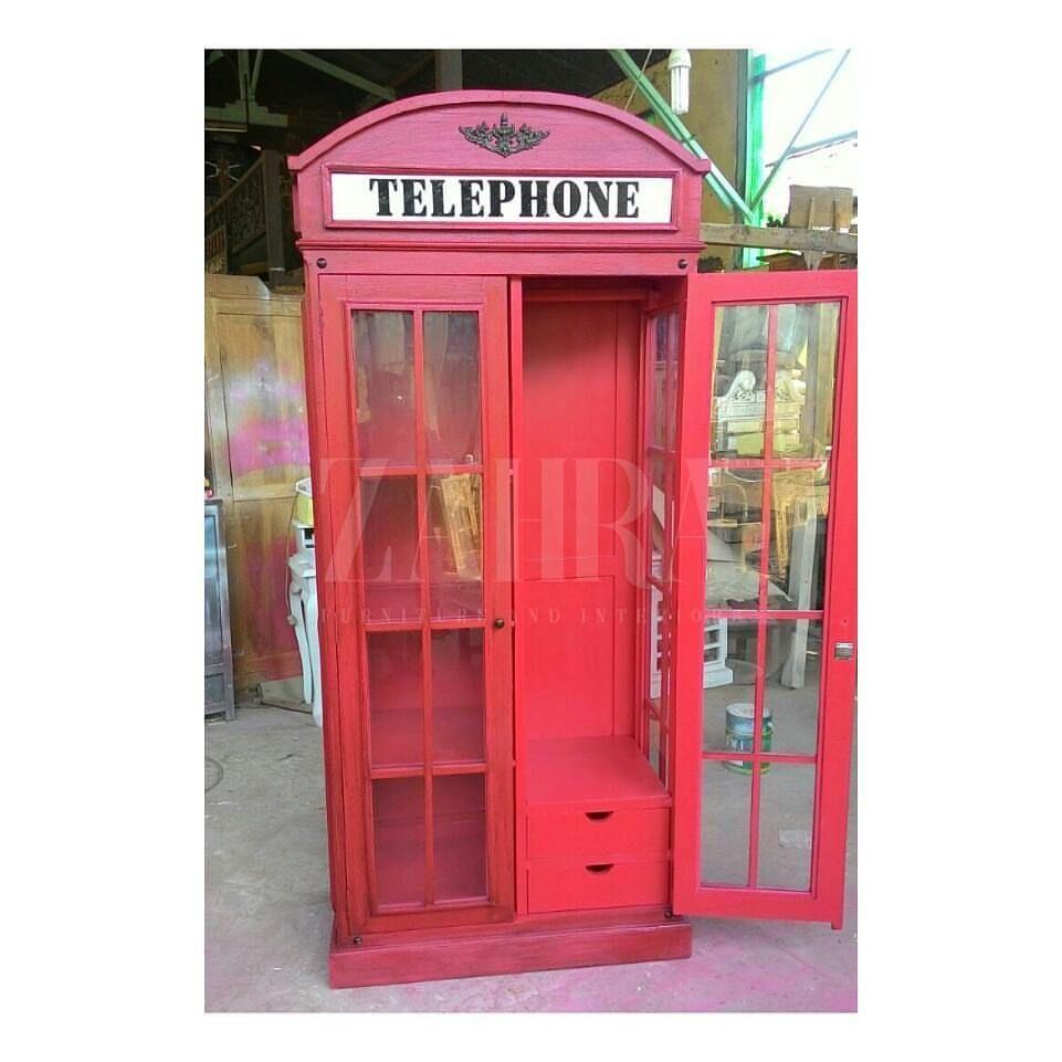 Lemari Pakaian 2 Pintu Telephone London Lemari Vintage Ukuran  # Muebles Bandama
