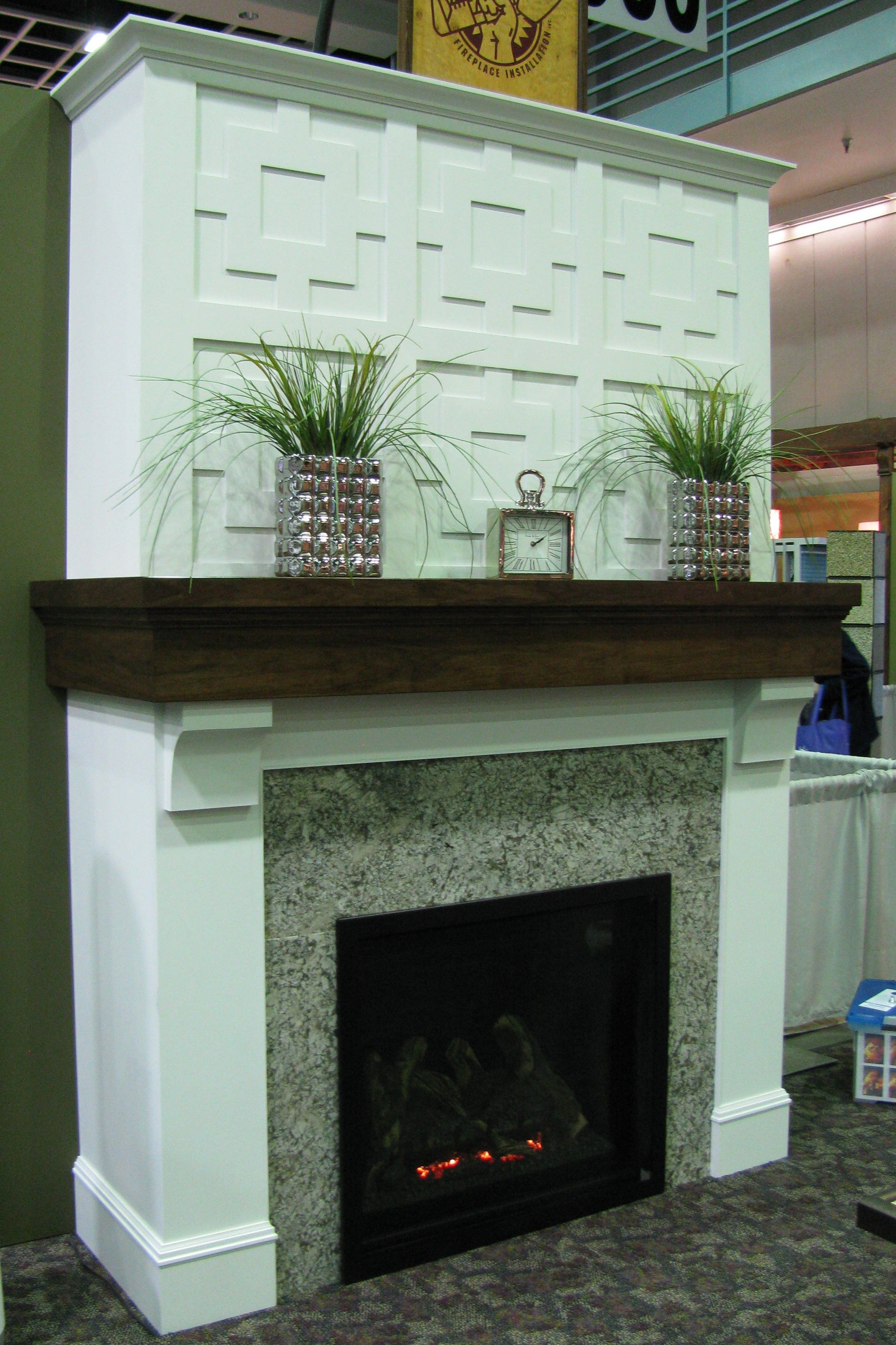 kozy heat gas fireplace granite surround custom built walnut