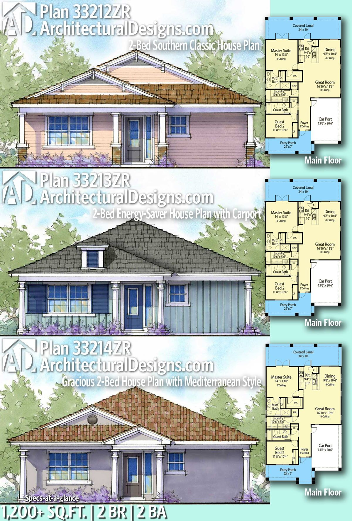 Plan 33213zr 2 Bed Energy Saver House Plan With Carport House Plans Country Style House Plans Classic House