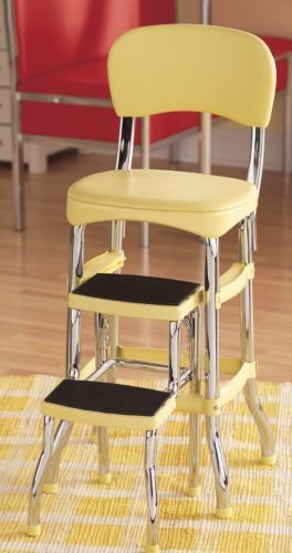 Yellow Step Stool Want One For Our Kitchen In Blue Or Red Yellow Kitchen Decor Retro Furniture 1950s Retro Kitchen