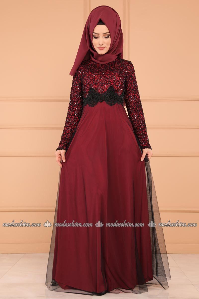 Moda Selvim Gupurlu Tul Etek Abiye Ech7224 S Bordo Elbiseler Moda Elbise