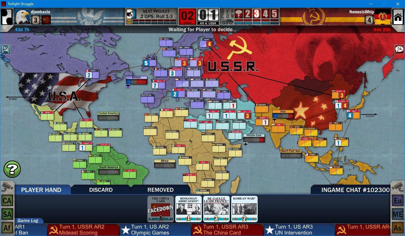 Twilight Struggle board view in 2020 Board games, Games