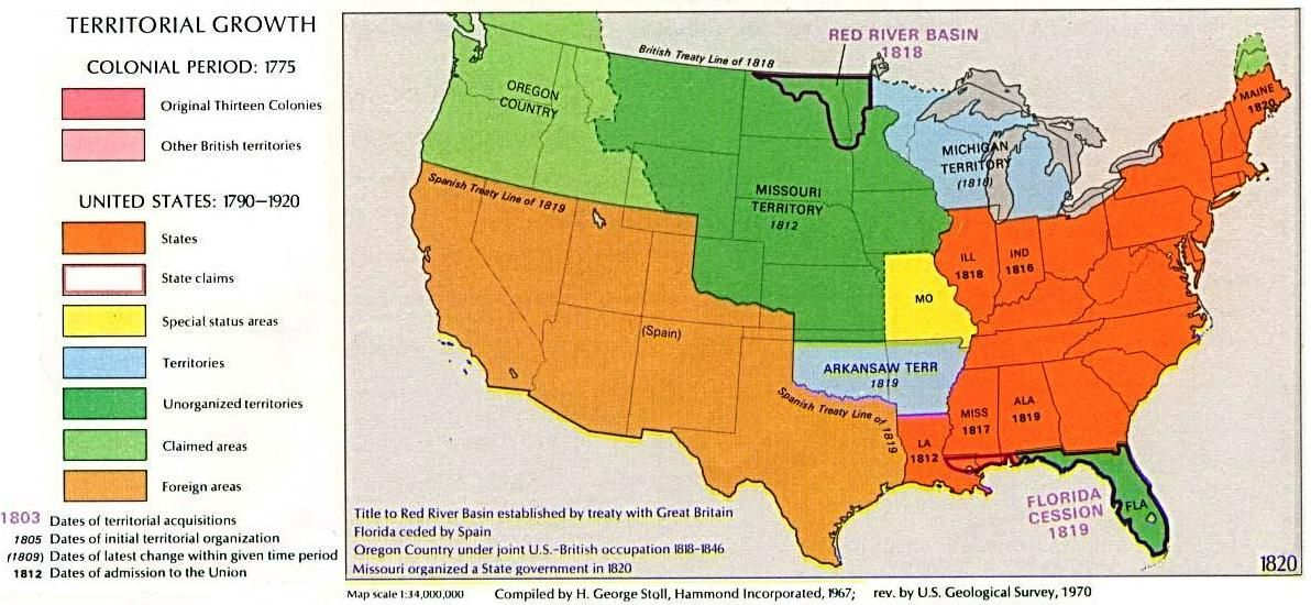 The United States In The Light Orange And Light Green Areas - 1819 map of us