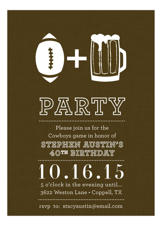 Football and Beer Invitation Bowls, Birthdays and Super bowl party - birthday invitation for adults