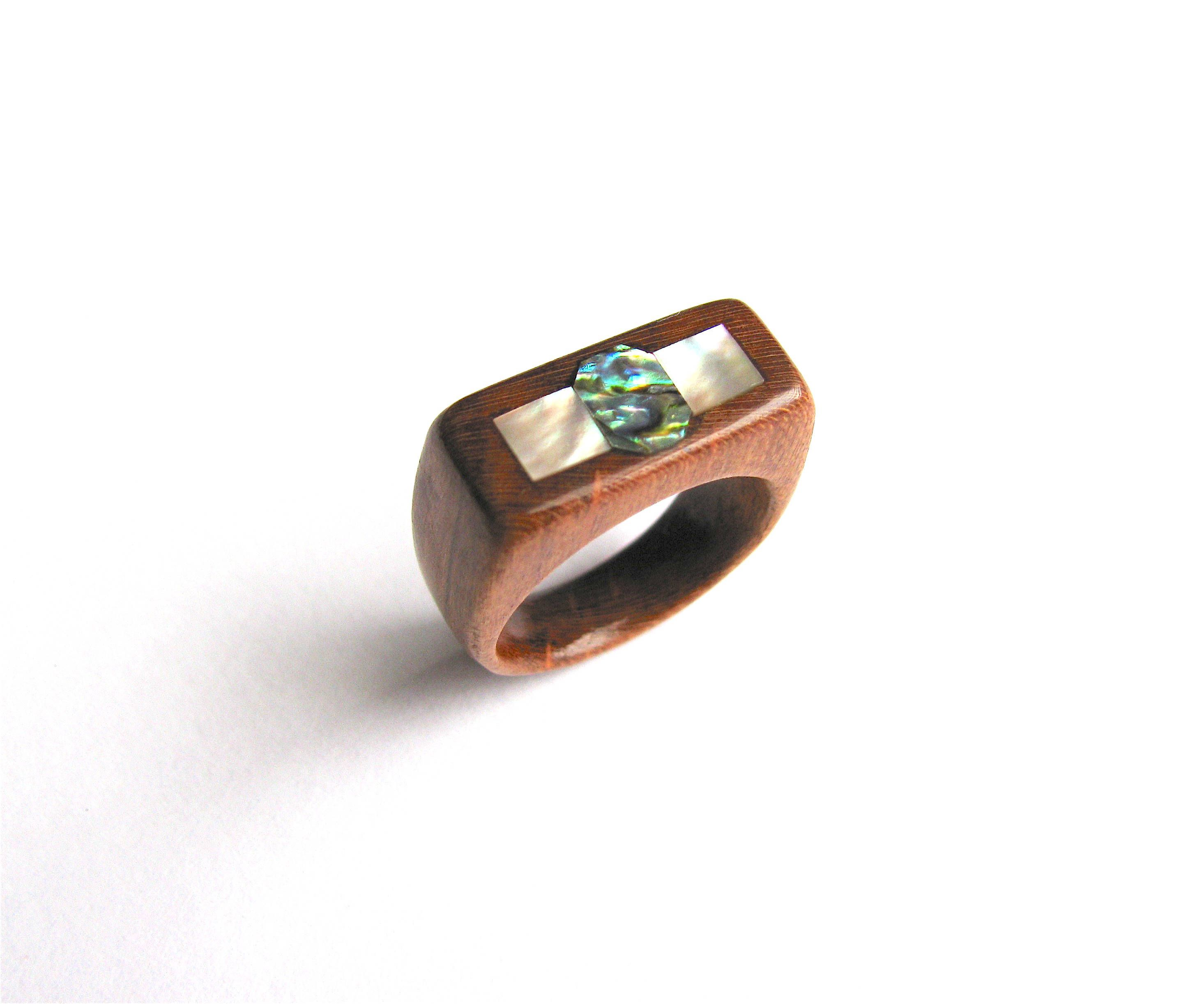 two abalone shell bent inlay beautiful wedding by pin with an rings wood framed and kingwood ring shedua