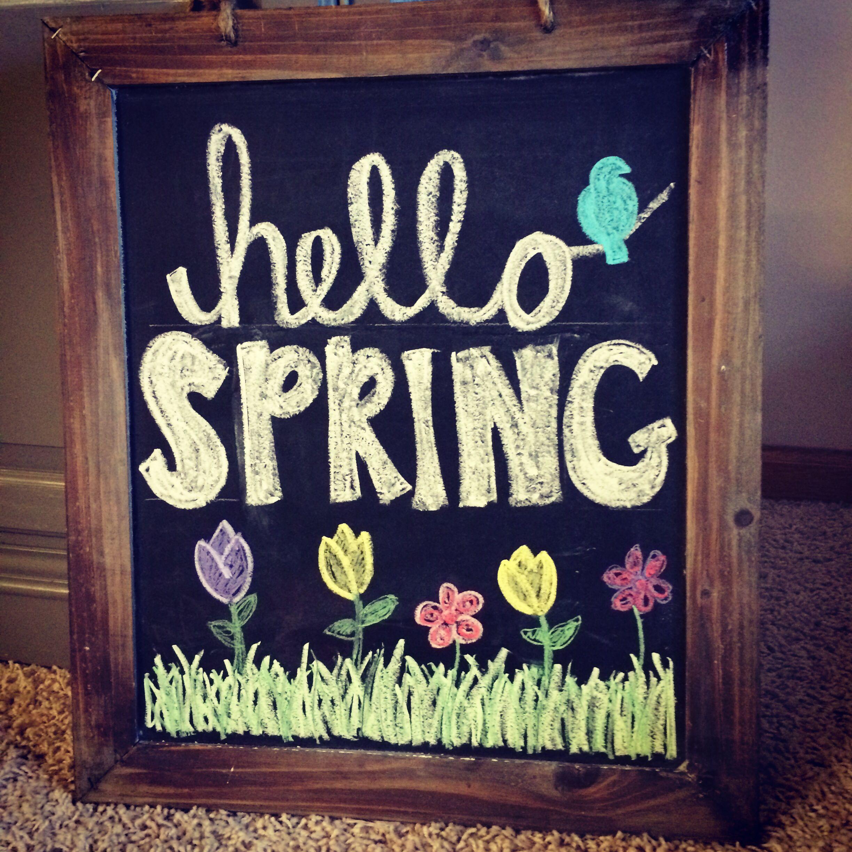 my spring chalkboard hello spring spring chalkboard thanks