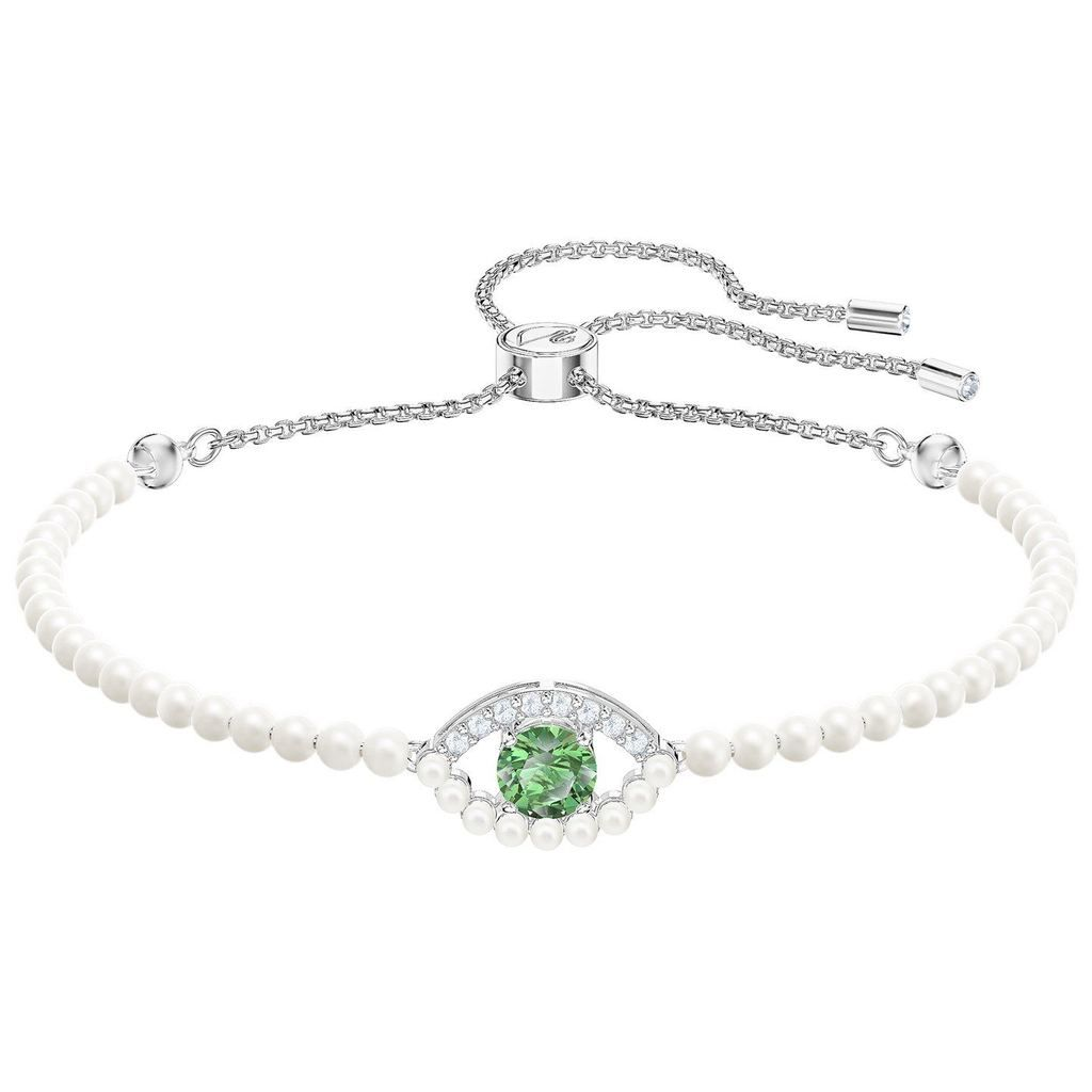 19d52f4a48ecf Swarovski Luckily Medium Bracelet, Green, Rhodium plating, 5429733 ...