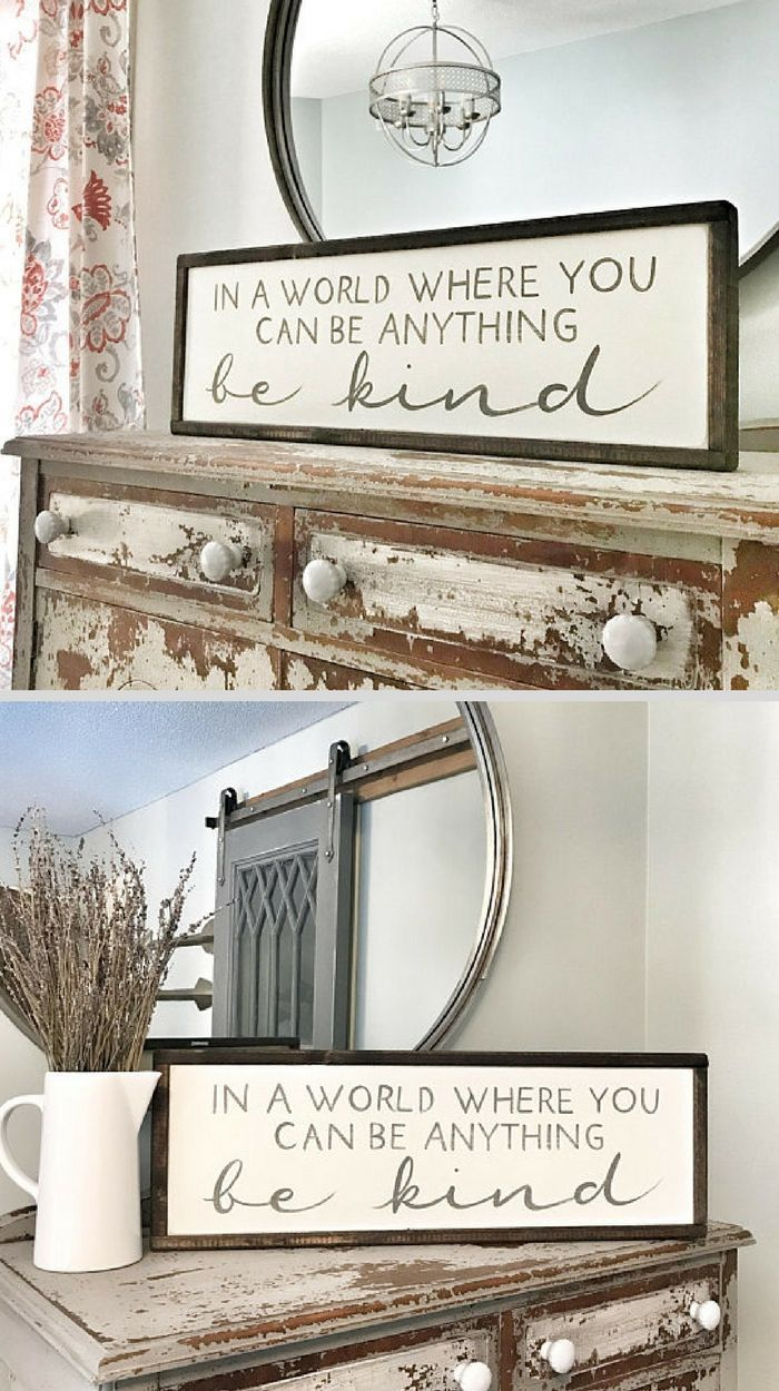 Hand Painted Rustic Wood Sign: In a World Where You Can Be